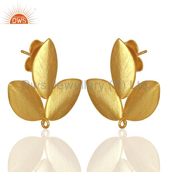 Exporter Handmade Leaf Design Gold Plated Stud Earrings connectors Manufacturer