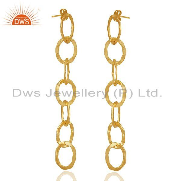 Exporter Chain and Link Design Gold Plated Fashion Earrings Manufacturer