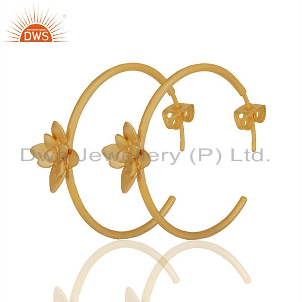 Exporter Floral Design Gold Plated Handmade Brass Fashion Hoop Earrings Jewelry