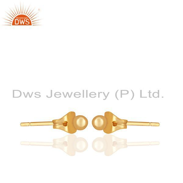Exporter Round Ball Design Gold Plated Brass Fashion Girls Stud Earring