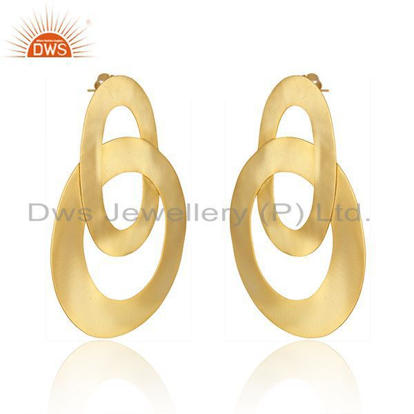 Exporter Circle Design Gold Plated Brass Fashion Simple Earrings Manufacturer