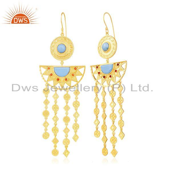Exporter Indian Traditional Gold Plated Fashion Gemstone Chandelier Earring Wholesale
