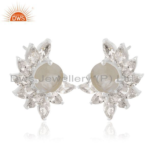 Exporter Rainbow Moonstone Brass fashion Stud Earrings Wedding Jewelry Manufacturer India