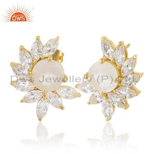 Exporter White Zircon and Moonstone New Designer Gold Plated Fashion Stud Earring Jewelry