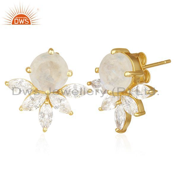 Exporter Designer Gold Plated Brass Prong Set Moonstone and Zircon Stud Earring Wholesale