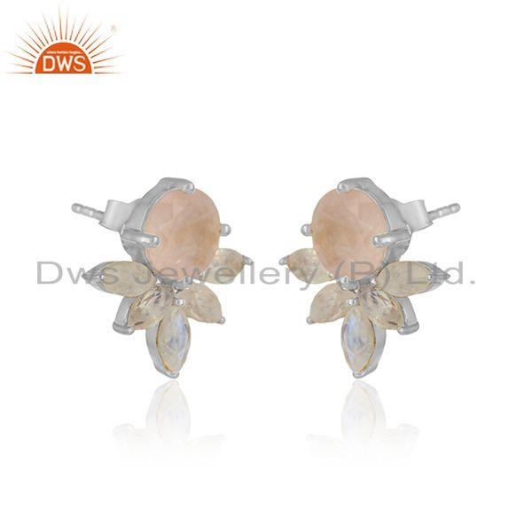 Designer stud in silver 925 with rainbow moonstone and rose quartz