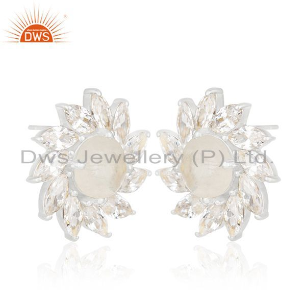 Exporter Rainbow Moonstone and White Zircon Silver Plated Brass Stud Earring Manufacturer