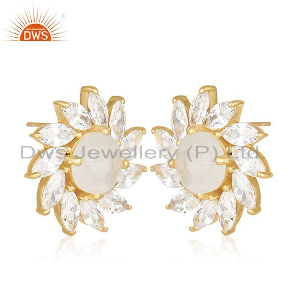 Exporter Floral Design Gold Plated Brass Fashion Gemstone Wedding Stud Earrings Wholesale