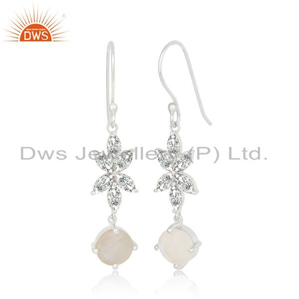 Exporter White Zircon and Rainbow Moonstone Brass Fashion Earring Manufacturer Jaipur