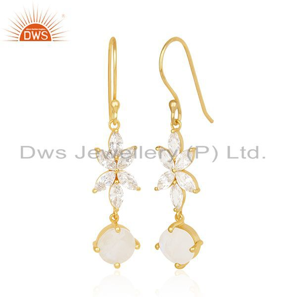 Exporter Designer Gold Plated Brass Fashion Multi Gemstone Dangle Earring Manufacturer