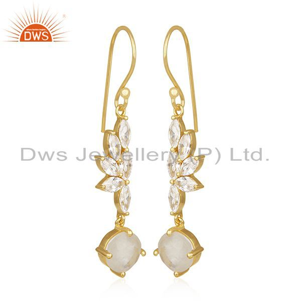 Exporter Rainbow Moonstone and Cz Gold Plated Brass Fashion Earring for Girls Jewelry