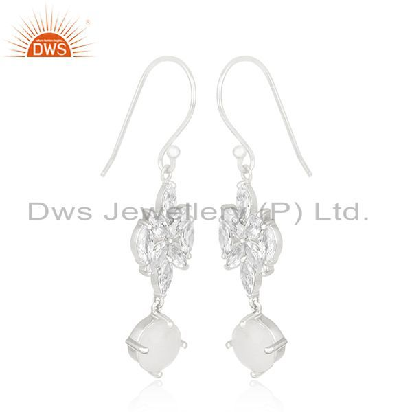 Exporter White Zircon and Rainbow Moonstone Fine Silver Plated Brass Earring Manufacturer