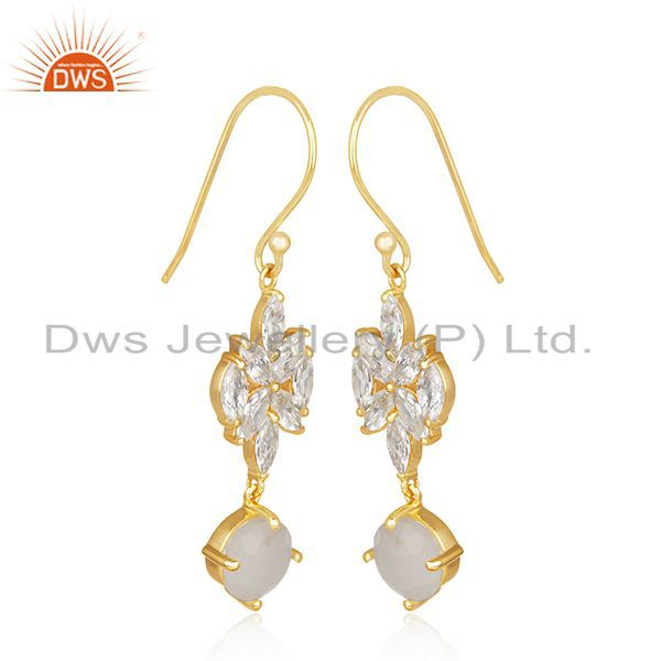 Exporter Gold Plated Brass White Zircon and Rainbow Moonstone Dangle Earring Manufacturer