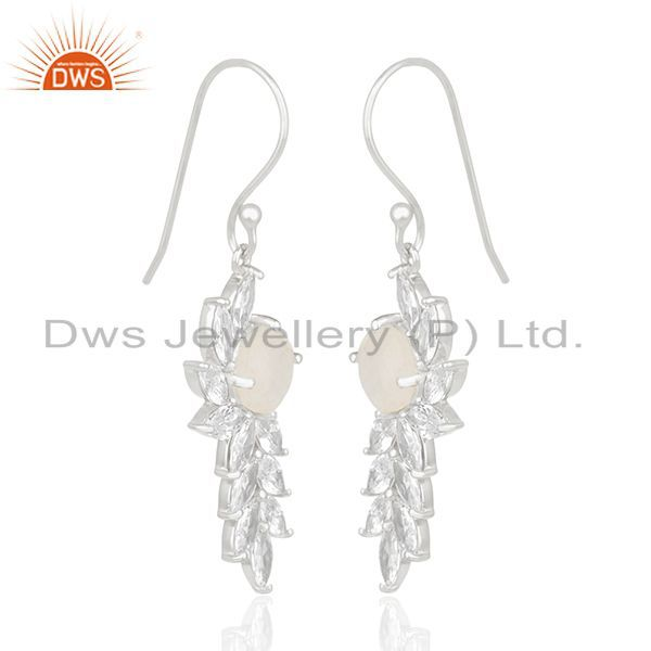 Exporter Fine Silver White Zircon and Rainbow Moonstone Brass Fashion Earring Wholesale