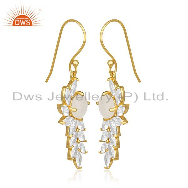 Exporter Gold Plated Brass Designer CZ and Moonstone Earring Fashion Jewelry Manufacturer