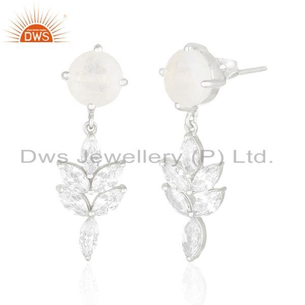 Exporter White Zircon and Rainbow Moonstone Brass Fashion Silver Plated Stud Earring