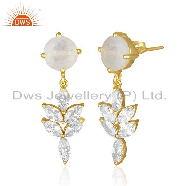 Exporter 14k Gold Plated Brass Fashion Gemstone Earring Manufacturer of Wedding Jewelry