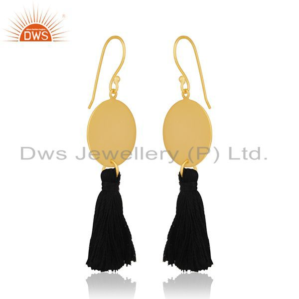 Exporter Handmade Designer Brass Gold Plated Tassel Thread Earrings Manufacturers India