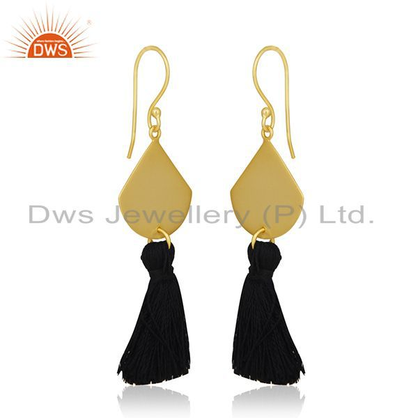Exporter Black Thread Gold Plated Brass Fashion Tassel Earrings Manufacturer India