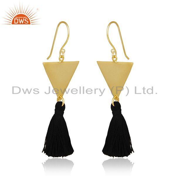 Exporter 14k Gold Plated Brass Fashion Handmade Black Thread Tassel Earrings Wholesale