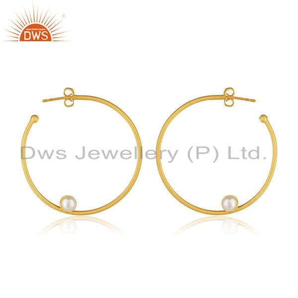 Exporter 14k Gold Plated Brass Fashion White Pearl Round Hoop Earring Manufacturers India