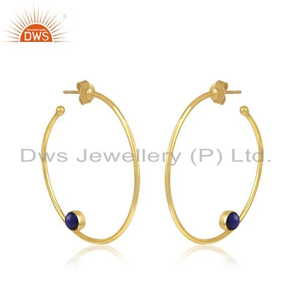 Exporter Lapis Handmade Gold Plated Silver Hoop Earring Jewelry