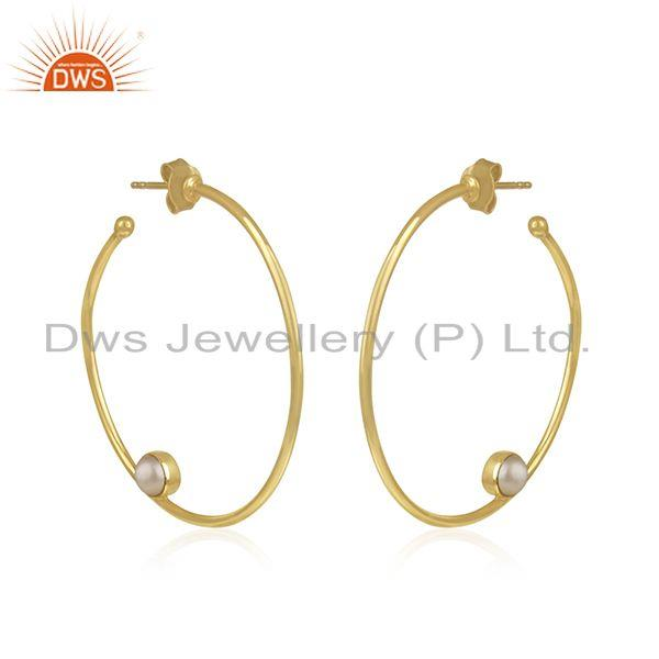 Exporter Natural Pearl Gemstone Silver Gold Plated Hoop Earring Jewelry