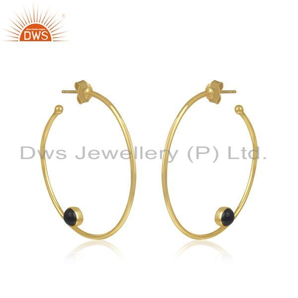 Exporter Black Onyx Gemstone Silver Gold Plated Hoop Earring Jewelry