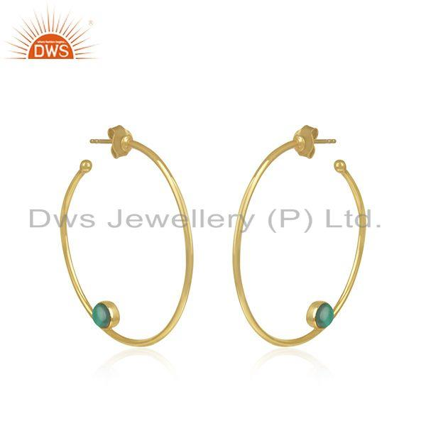 Exporter Gold Plated 925 SIlver Green Onyx Gemstone Hoop Earring Jewelry Supplier