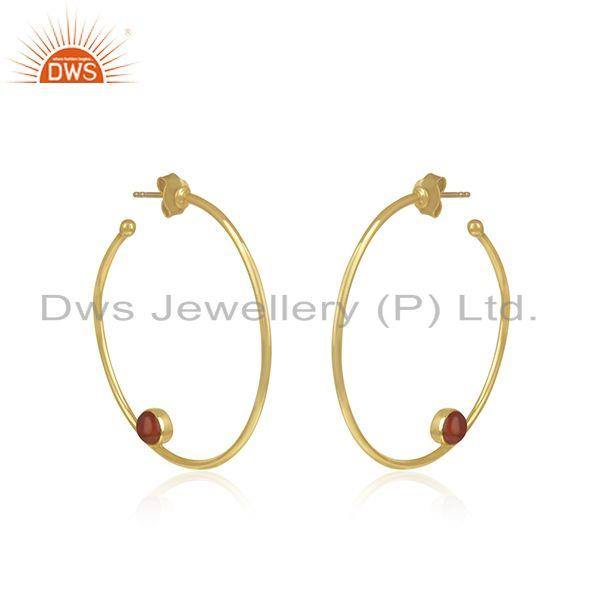 Exporter Wholesale Gold Plated Silver Red Onyx Gemstone Earring Jewelry