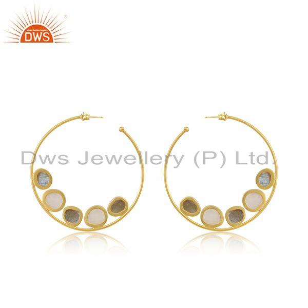 Exporter Multi Gemstone 14k Gold Plated Brass Fashion Hoop Round Earrings Wholesaler