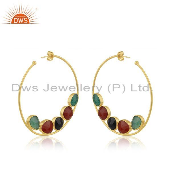 Exporter Black and Red Onyx Gemstone Gold Plated Brass Fashion Hoop Earrings Wholesaler