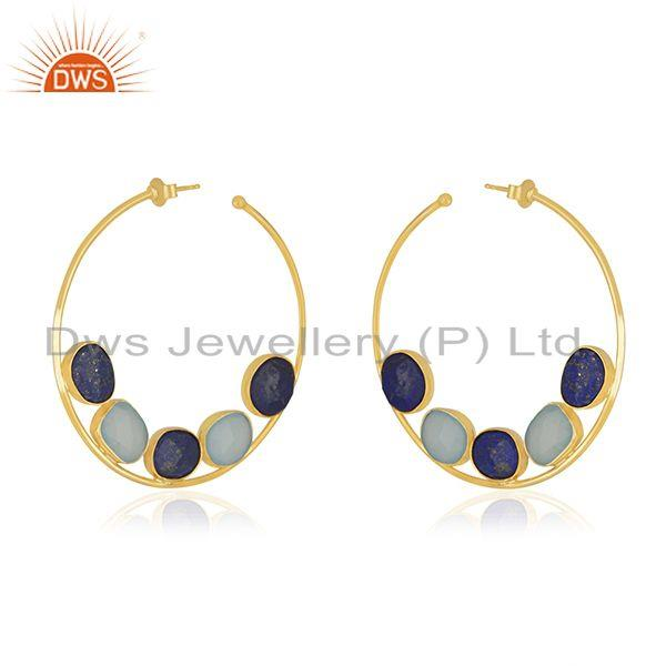 Exporter Lapis Aqua Chalcedony Silver Gold Plated Hoop Earrings