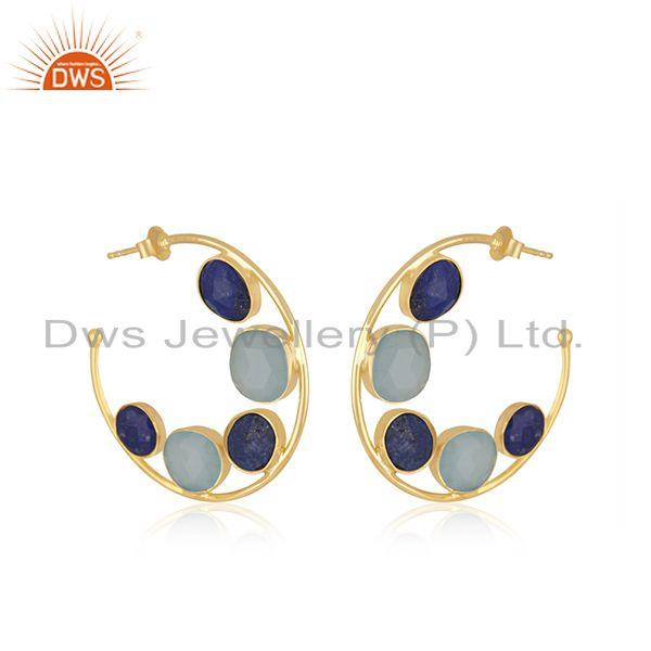 Exporter Chalcedony Lapis Gemstone Gold Plated Silver Hoop Earring Supplier