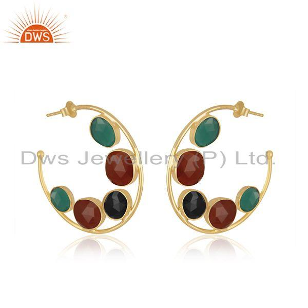 Exporter Natural Onyx Gemstone Silver Hoop Earring Jewelry