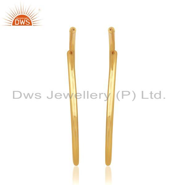 Exporter 14k Yellow Gold Plated Handmade Brass Fashion Simple Hoop Earrings Manufacturer