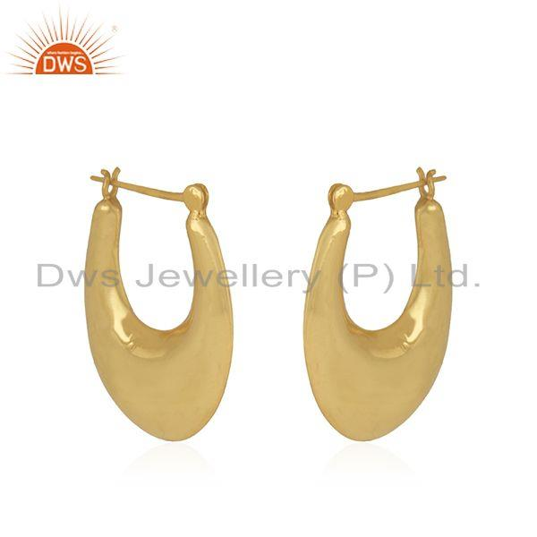 Exporter Designer Gold Plated Brass Chand Bali Hoop Earrings Jewelry