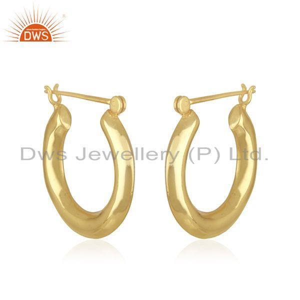 Exporter Handmade Designer Gold Plated Brass Bali Hoop Earrings Jewelry