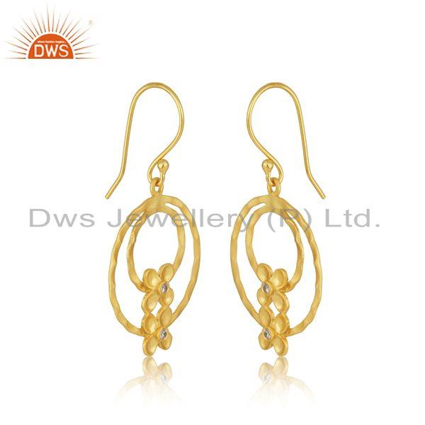 Exporter Designer Brass Gold Plated Fashion White Zircon Earrings Manufacturer Jaipur
