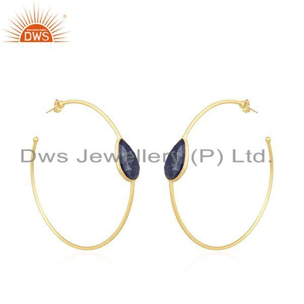 Exporter Handmade Yellow Gold Plated Lapis Gemstone Designer Hoop Earrings