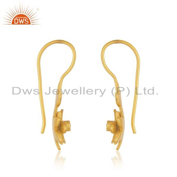 Exporter Designer Yellow Gold Plated Brass White Zircon Fashion Earrings Manufacturer