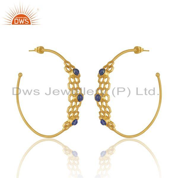 Exporter Lapis Lazuli Gemstone Gold Plated Brass Fashion Designer Hoop Earrings Supplier