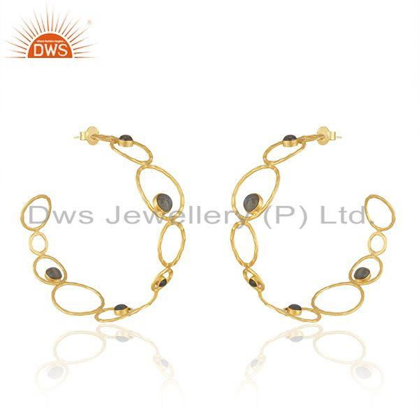 Exporter Handcrafted Brass 18k Yellow Gold Plated Designer Hoop Earring Wholesale