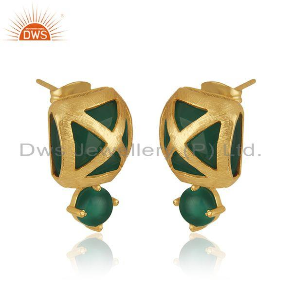 Exporter Designer Yellow Gold Plated Brass Fashion Green Onyx Gemstone Drop Earrings