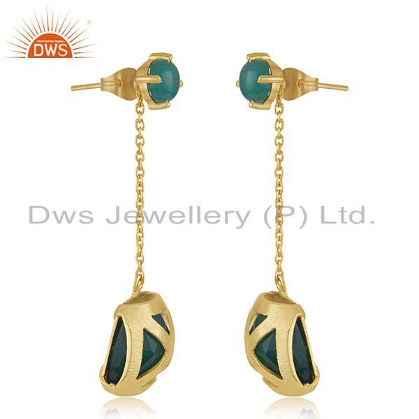 Exporter Designer Brass Gold Plated Green Onyx Gemstone Chain Earrings Manufacturer India