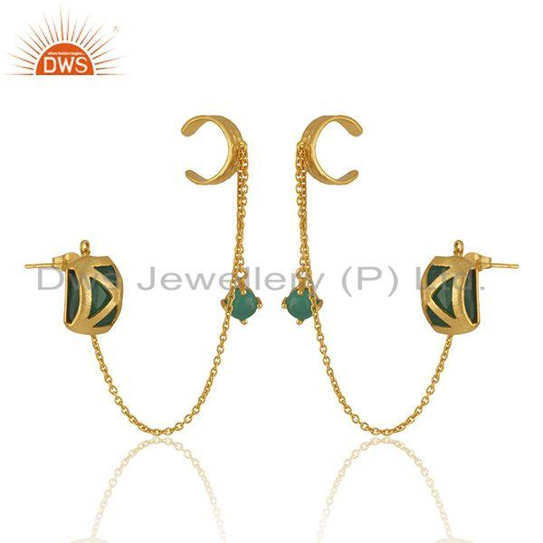 Exporter Green Onyx Gemstone Yellow Gold Plated Brass Fashion Cuff Earrings Wholesale