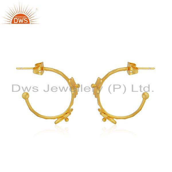 Exporter Flower Yellow Gold Plated Brass Designer Fashion Earring Jewelry Supplier