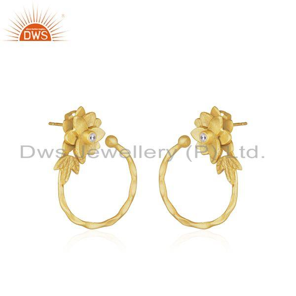 Exporter Floral designer Gold Plated Brass Fashion Earrings Jewelry Supplier