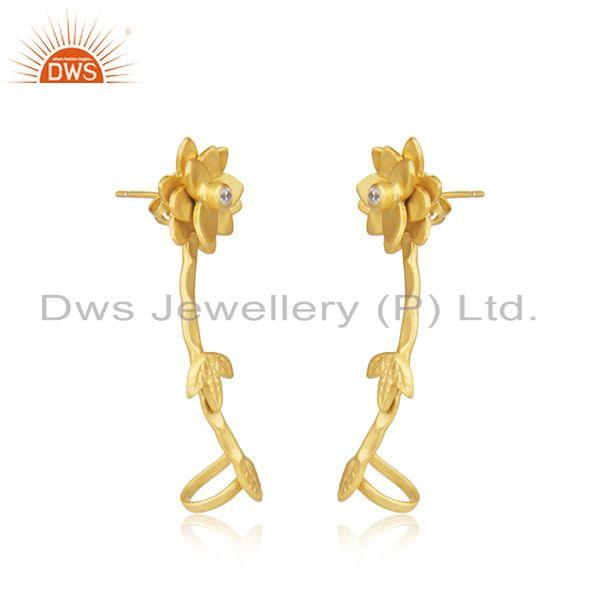 Exporter Handmade Gold Plated Floral Brass CZ Fashion Earrings For Girls
