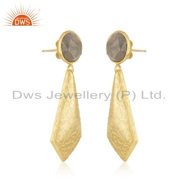 Exporter 18k Gold Plated Texture Brass Labradorite Gemstone Earrings Jewelry